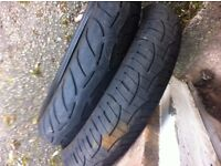 motorcycle tyres front and rear 120/180 and 190