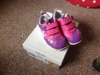 Baby girls trainers, Size 4 F, CLARKS in box, rabbit design, good condition
