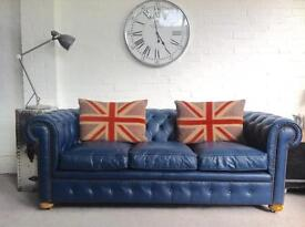 Stunning bespoke made blue Chesterfield sofa. Can deliver