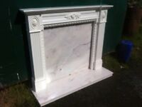 Stunning ornate fire surround with marble hearth and back plate