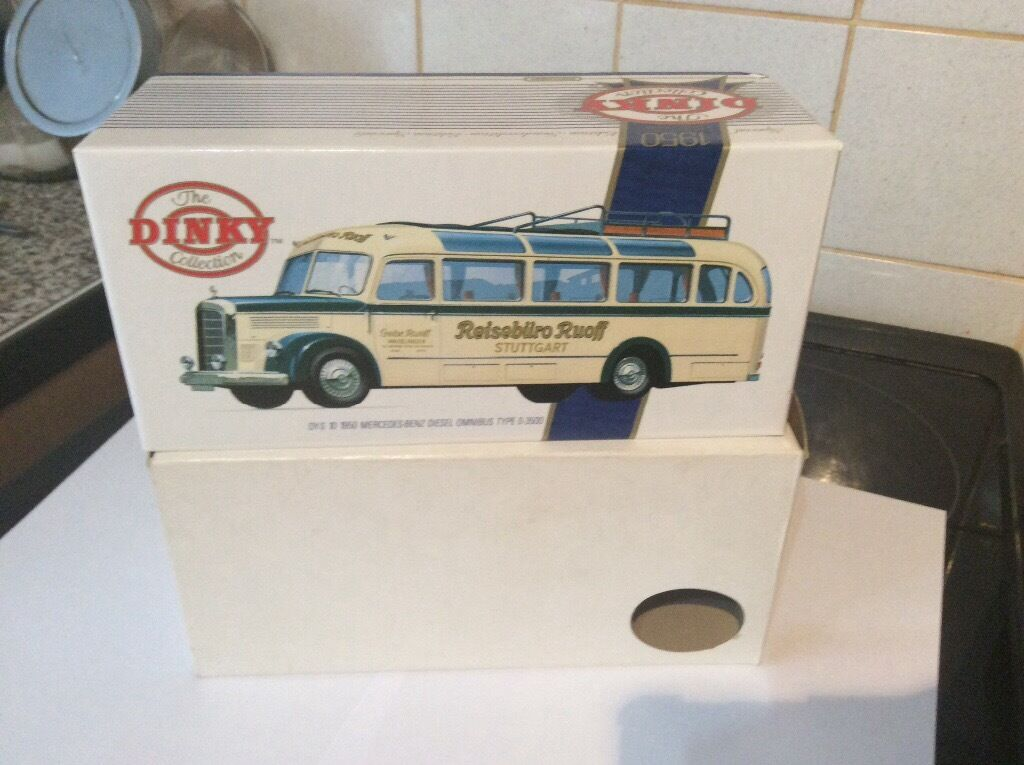 Stunning dinky Mercedes diesel omnibus.issued 1989in Caister on Sea, NorfolkGumtree - Really lovely dinky Mercedes Benz diesel omnibus.been in box from new in 1989. Absolutely pristine all round.approx 7 inches long.i have priced up about 200 250 of my models ( corgi etc) mostly from 1980s onwards,ready for a boot sale when weather...