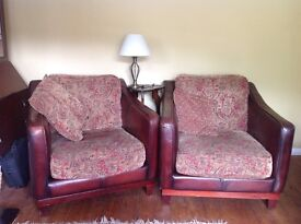 3 piece leather and fabric sofa suite