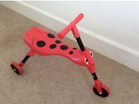 Scuttlebug children's push trike, ladybird design