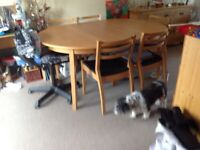 Six pine chairs and round table as new
