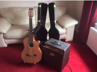 Dean concert classical guitar and peavey acoustic amp