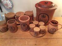 Terracotta Kitchenware set bread bin milk jug etc collectable