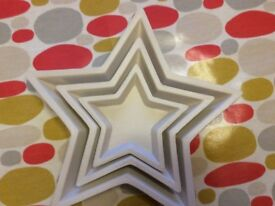 Set of 3 White Wooden Stars