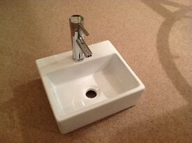 Cloakroom hand basin and tap. New in box. Surplus to requirements
