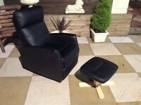 Black Recliner Leather Style Chair In Excellent Condition With Stool Can Deliver