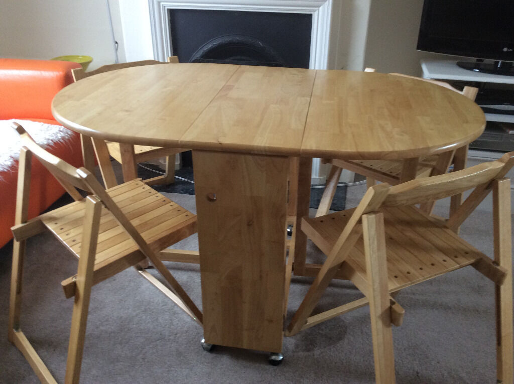 John Lewis Butterfly Drop Leaf Folding Dining Table And Four Chairs RRP 199