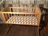 Baby rocking cradle pine swinging crib with mattress boy or girl