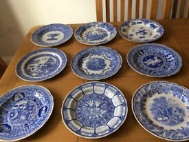 Collection of 18 Spode Blue Plates