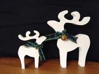 Christmas star gazing reindeer decorations mother baby white stipple gold bells blue tartan ribbon