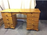 Antique pine dressing table with 8 drawers