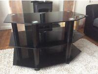Excellent condition black glass corner TV stand