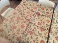 """Sundour lined curtains 70"""" x 90"""" with Tie Backs, Valance and extra material for cushions etc."""
