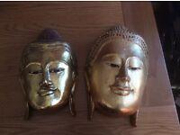 Set of 2 Buddha masks to hang