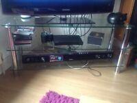 Black glass TV bench