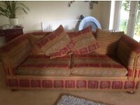 Large second hand sofa, with 4 scatter cushions