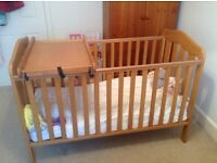 MAMA AND PAPAS COT BED WITH MATTRESS