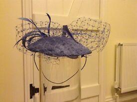 Ladies cornflower blue fascinator hat