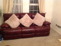 3 seater & 2 seater leather reclining sofas superb condition