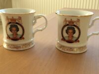 2 x House of Vanguard Queen Elizabeth Golden Jubilee commemorative mugs