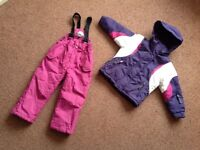 Parallel girls Age 2-3 years snow trousers & winter jacket coat (toddler snowsuit) pink purple white
