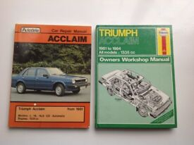 Two Workshop Manuals for Triumph Acclaim