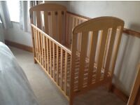 Mamas & Papas lovely pine cot and mattress, immaculate condition for sale.