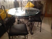 Dinning table and leather chairs