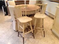 Pair of solid oak bar stools. Excellent condition