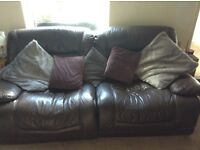 Brown leather electric reclining 3 seater sofa for sale