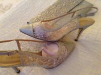 Wedding or evening silver Pacomena shoes size 6 and matching clutch bag £60