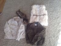 River island girls leather jacket , river island gilet and next green bomber
