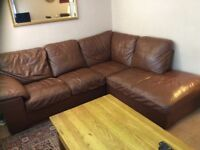 Leather sofa L shape in brown colour