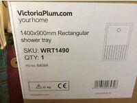 Victoria plumb walk in shower tray 1400 x 900