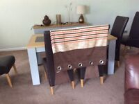Two pairs of orange brown and cream curtains 72ins drop 2