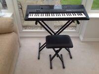 Yamaha e453 electronic keyboard with x braced stand and stool