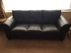 Dark Brown Leather 3 piece suite, 3 seat and 2 seat sofas plus armchair, exc lent condition.