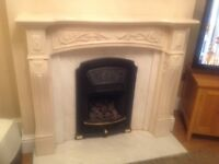 Vintage marble fire surround and back, please note hearth and fire are not included