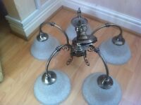 Light fitting metal with five bulbs with glass shades