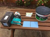Blue Kitchen tiles +bal adhesive + tile grout+tile spacers almost 5 square metres