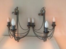 Pair of John Lewis Steel Grey Pendant Lights