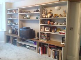 Large fitted shelving/display unit for living room, needs dismantling