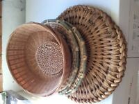 Straw and cane table mats, coasters, baskets