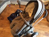 Stokke Crusi Stroller+bassinet bed+car seat with isofix base+baby carrier+parasol