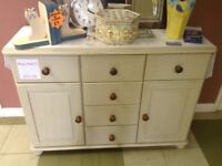 White Shabby chic unit, 6 drawers 2 cupboards