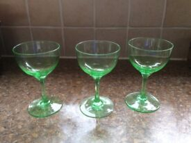 3 X VINTAGE GREEN GLASSES