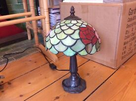 Two stained glass small lamps